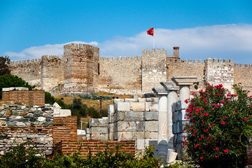 Castle in Selcuk, Ayasuluk hill. Turkey