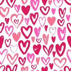 Seamless background with hand drawn hearts. Vector illustration.