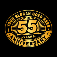 55 years anniversary design template. Vector and illustration. 55th logo.