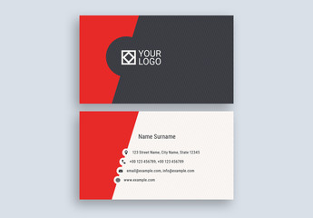 Red Cutout Business Card Layout