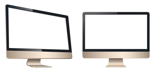 LCD computer, tv monitor view front and left isolated on a white background
