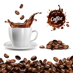Realistic vector set of elements (coffee beans background, coffee cup, a coffee splash, pile and stain, logo)