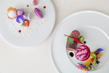 Two courses of elegant, creative restaurant meal - haute couture food concept