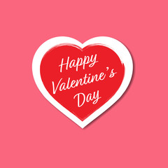 Happy Valentine's Day Hearts with Brush Drawing Calligraphy Heart