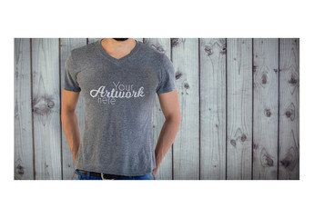 Man in Gray T-Shirt Mockup 2
