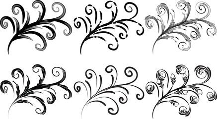 Calligraphic decorative elements with lines
