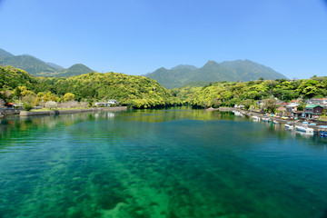 Zelfklevend Fotobehang Groen blauw Clear stream Yakushima