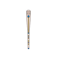 Baseball or softball bat flat color line vector illustration. Base ball club in linear style. American national game equipment image.