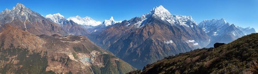 Everest, Lhotse, Ama Dablam and Namche Bazar from Kongde
