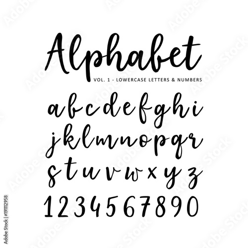 Quot hand drawn vector alphabet brush script font isolated
