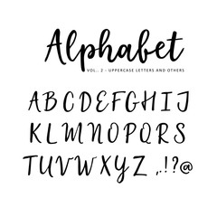 Hand drawn vector alphabet. Brush script font. Isolated upper case letters written with marker, ink. Calligraphy, lettering.