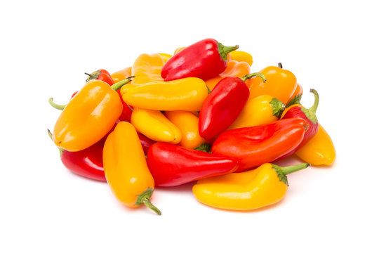 Small Sweet Peppers Isolated on a White Background
