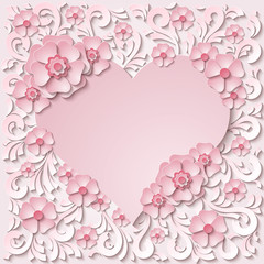 Beautiful vintage heart frame with 3d light pink paper cut flowers. Vector illustration