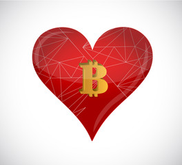 golden bitcoin in heart concept. Isolated illustration