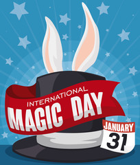 Hat with Ribbon and Rabbit Ears for Magic Day Celebration, Vector Illustration