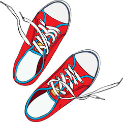 a pair of red trampled old shoe with laces untied white