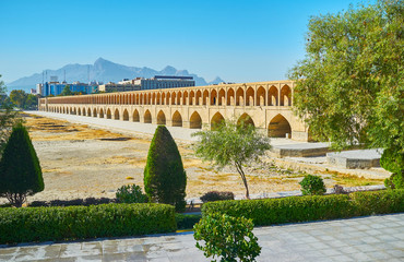 Embankment of Si-o-se-pol bridge, Isfahan, Iran