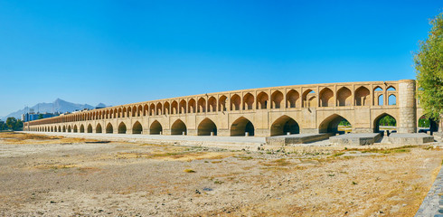 Panorama of medieval bridge in Isfahan, Iran