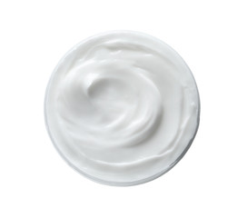 Jar with hand cream on white background