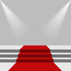 Red carpet and podium.