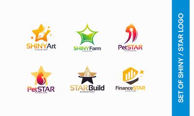 Shiny Art logo, Shiny Farm log, Pet Star, Animal Star logo, Star Build symbol, Finance Star logo designs concept vector illustration