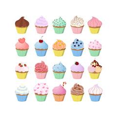 Sweet cupcakes set.
