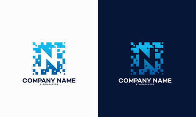 Abstract Modern N Pixel Initial logo designs vector template