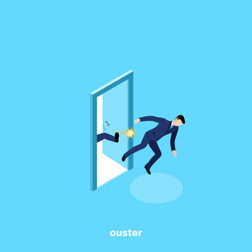 a man in a business suit is kicked out of work, kicked in the ass, an isometric image