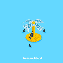 a man in a business suit sits on an island of coins and around swim sharks, an isometric image