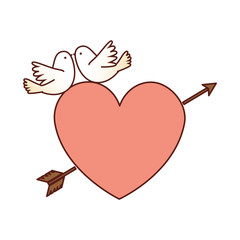 heart with arrow and doves vector illustration design