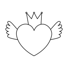 heart love with crown and wings vector illustration design