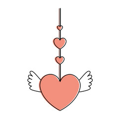 heart love hanging with wings vector illustration design