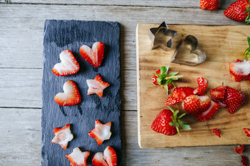 Short strawberries with heart and stars molds