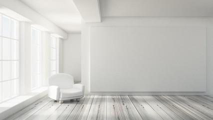 White interior room. 3d illustration, 3d rendering.