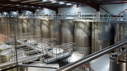 Shop with processing cisterns in wine plant