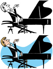 A man playing a song on a grand piano.