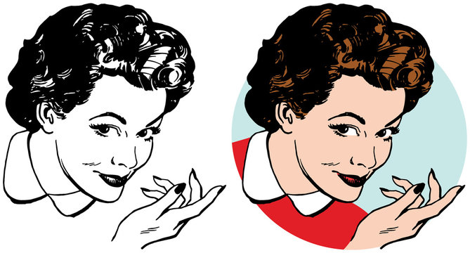 A woman with a sly expression gesturing to the right.