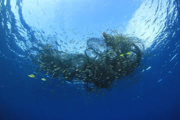 Discarded fishing net. Ghost net environmental pollution problem