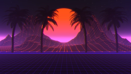 Deurstickers Violet 80s Retro Scifi Synthwave Background 3D Illustration