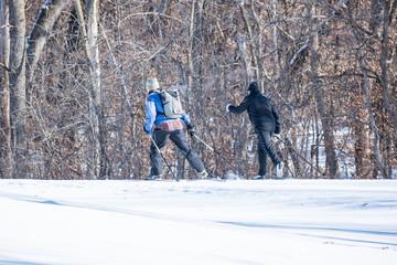 People are having fun in cross-country skiing