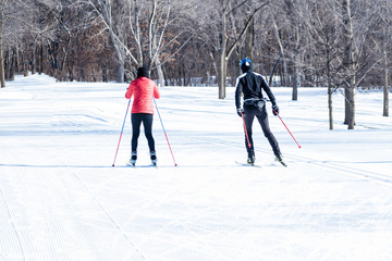 People are having fun in cross-country skiing