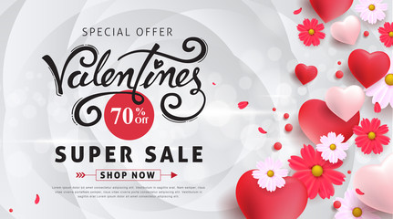 Valentines day sale background with Heart Shaped Balloons and flower. Vector illustration.banners.Wallpaper.flyers, invitation, posters, brochure, voucher discount.
