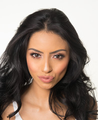 Beautiful elegant woman's face and dark hair