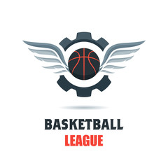 Silhouette of Basketball Ball. Basketball Logo Template with Gear and Wings