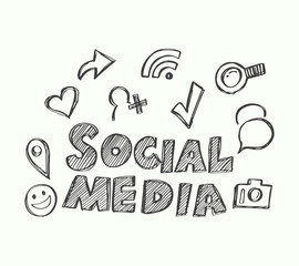 Social Media with icons doodle style.