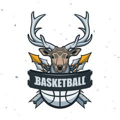 Silhouette of Basketball Ball. Basketball Sport Logo Template Vector Illustration