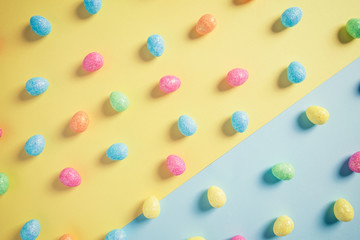 Gllittery Sweets on Pastel yellow and Blue Background