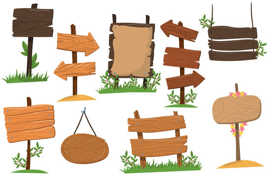 Set of wooden signs of various forms, tablets indicating index arrowhead way cartoon vector Illustrations isolated