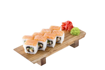 Sushi set on a wooden board on a white background.Isolated.