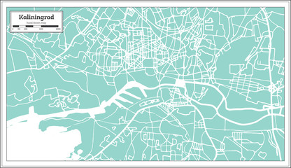 Kaliningrad Russia City Map in Retro Style. Outline Map.